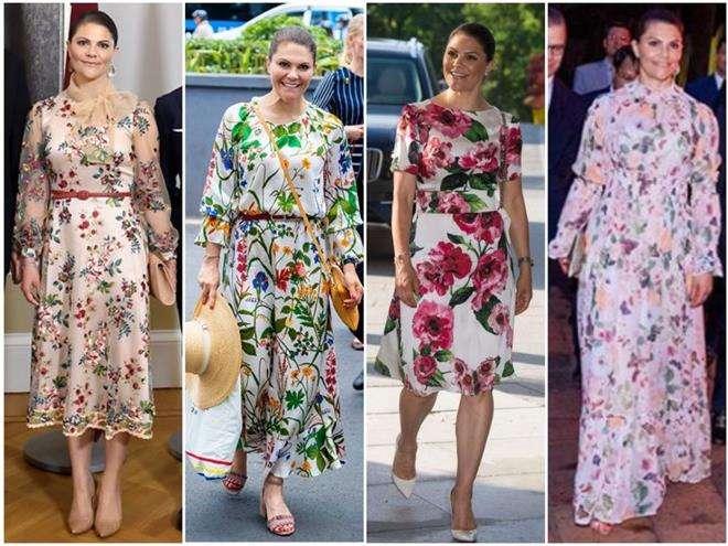 Кронпринцесса Виктория предпочитает платья с цветочным принтом